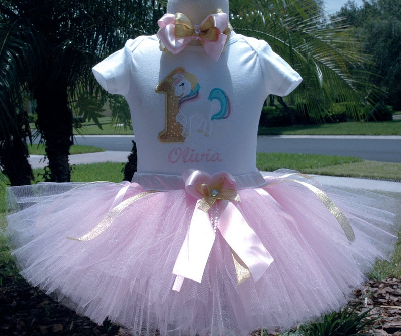 Unicorn 1st Birthday Girl  Tutu Outfit One year old girl image 0