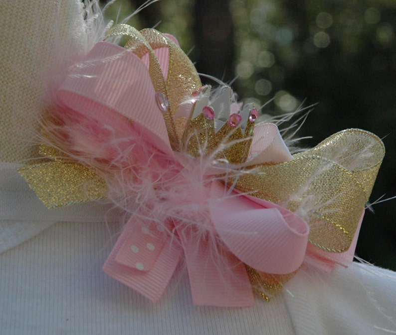 Baby girl princess crown hair bow gold and pink crown image 0