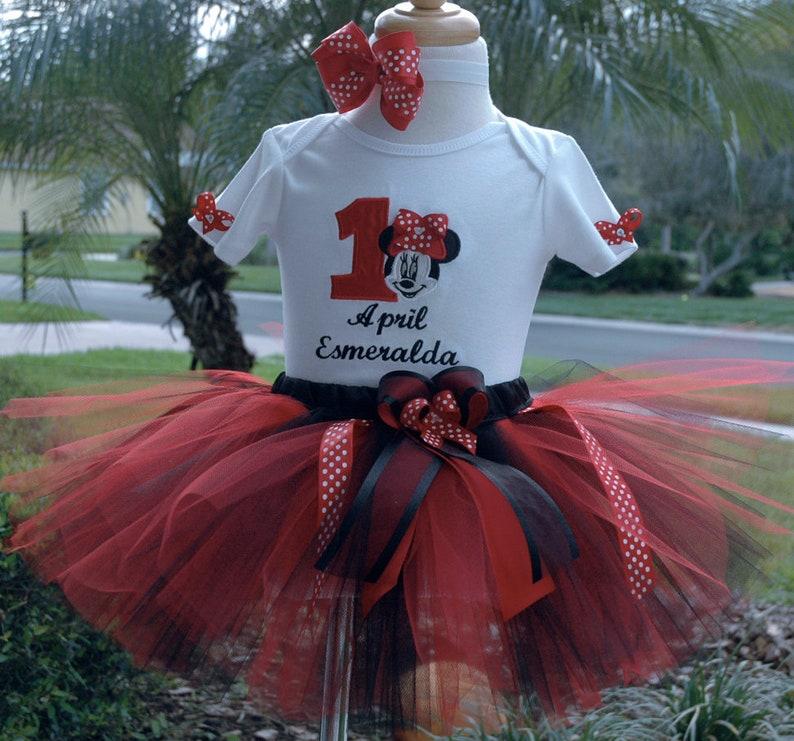 1c3d3bf178 Vestido De Primer cumpleaños rojo y negro de Minnie Mouse