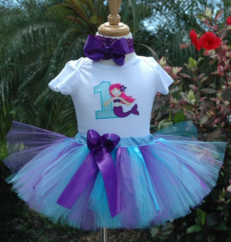 Mermaid  Birthday Outfit 1st birthday mermaidgirls outfit image 0