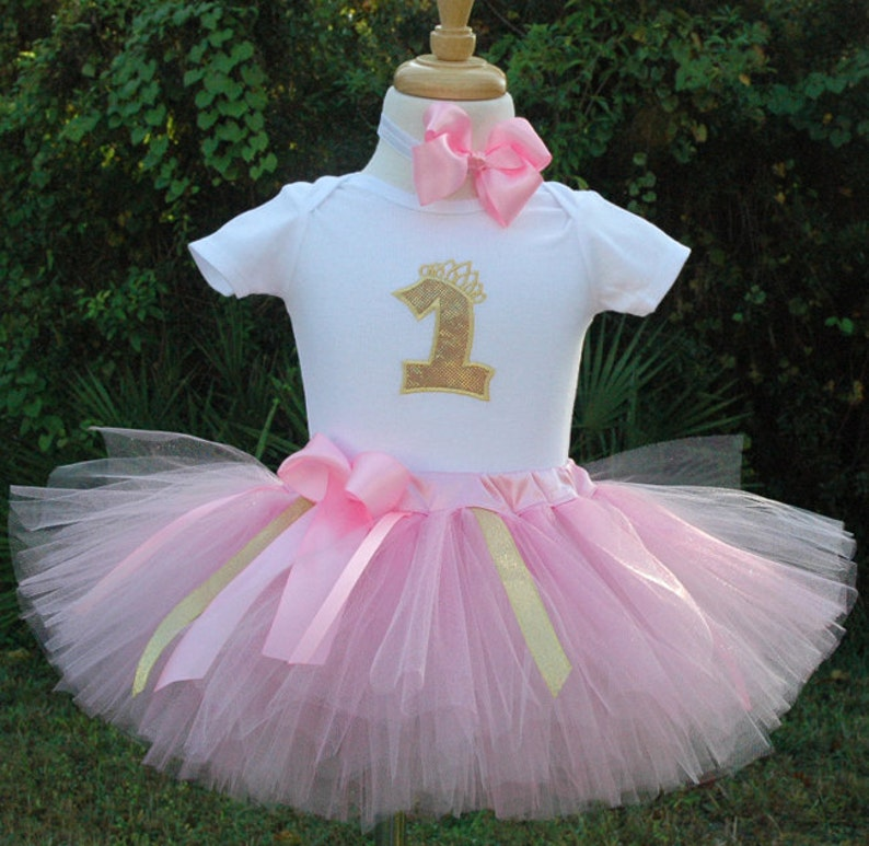 pink and goldone year old1st birthday girl outfittutu image 0