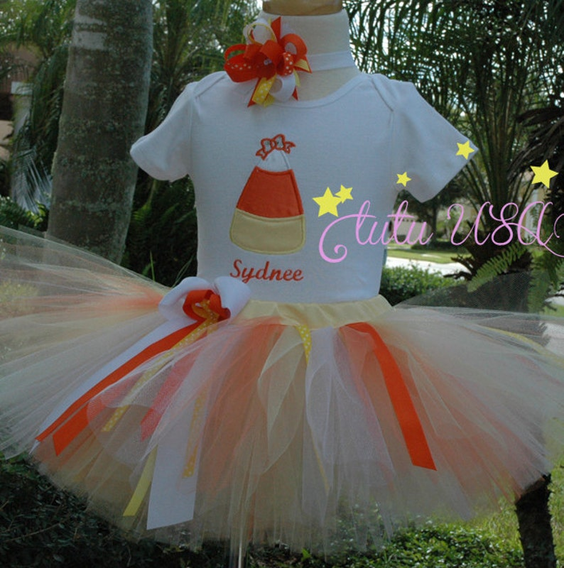 Candy Corn  Tutu 1st Birthday Girl Outfit One Year Old Girls image 0