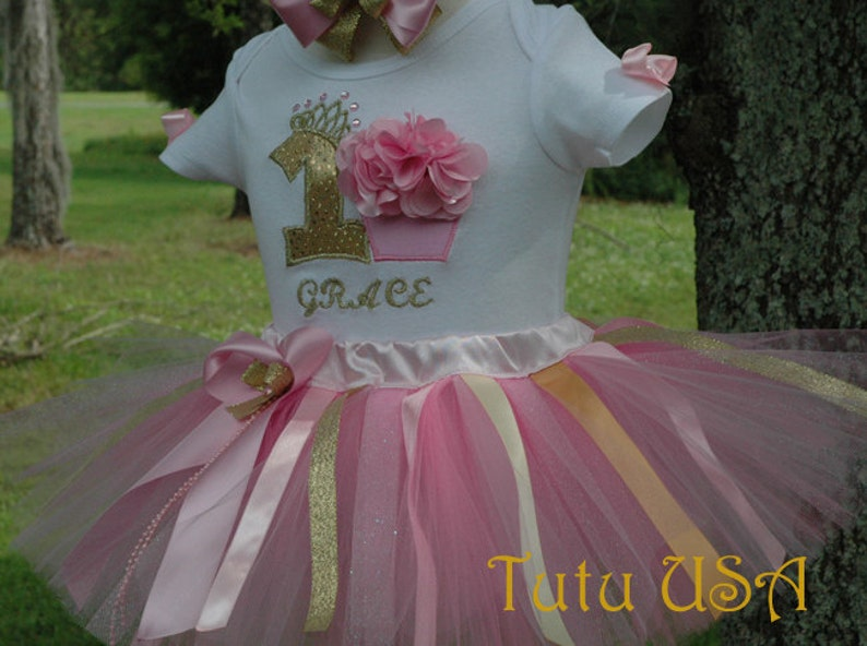 1st birthday tutu outfitPink and gold1st birthday girl image 0