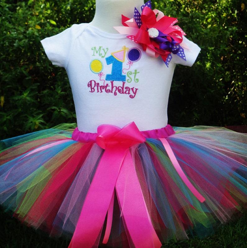 Fun 1st Birthday Girl OutfitFun Colors One Year Old Girl image 0