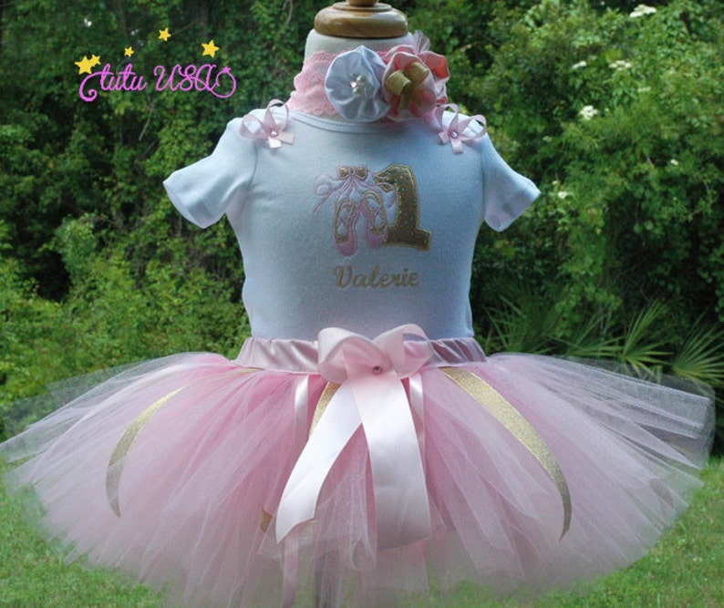 1st birthday tutu outfit BallerinaPink and Gold birthday image 0