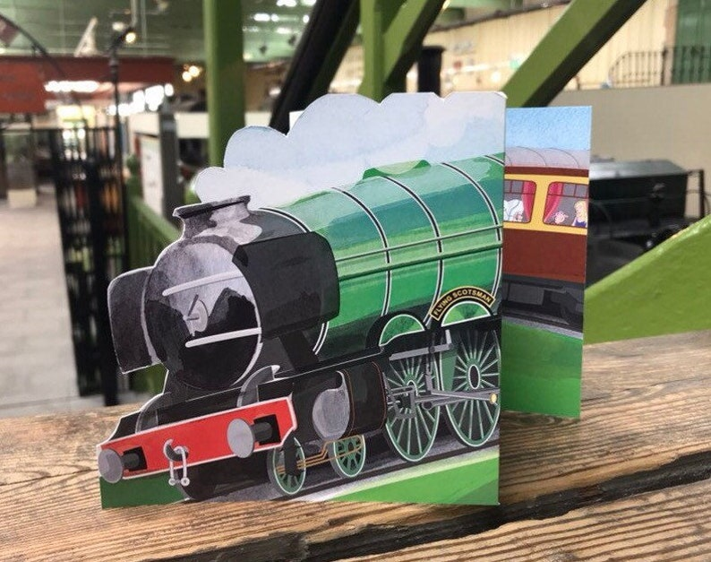 Flying Scotsman Steam Train Greetings Card image 0