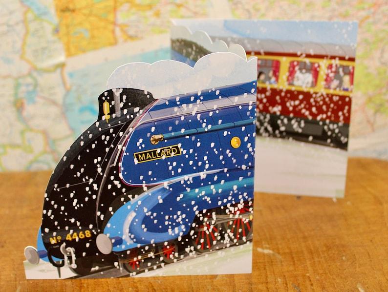 Mallard Steam Train Christmas Card Class A4 Pacific Xmas Card image 0