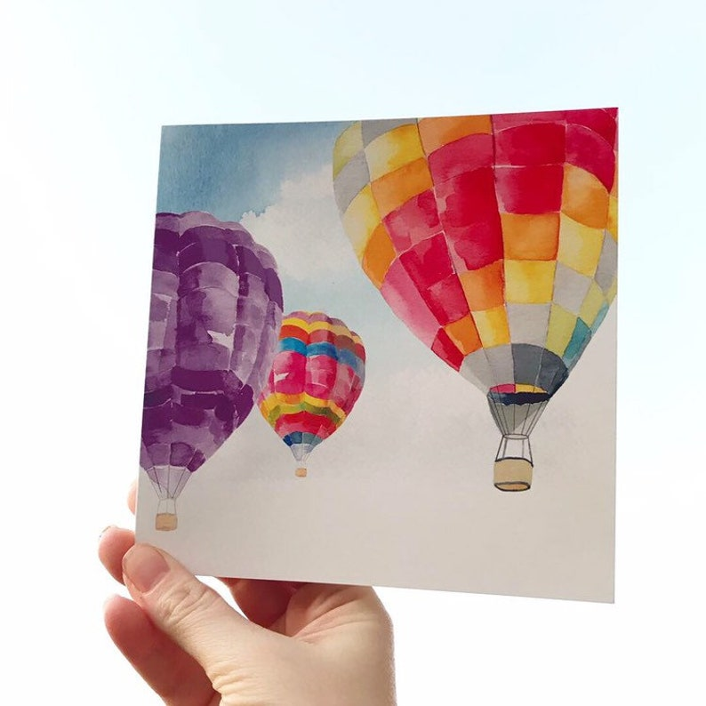 Hot Air Balloons  blank greetings card for your own message image 0