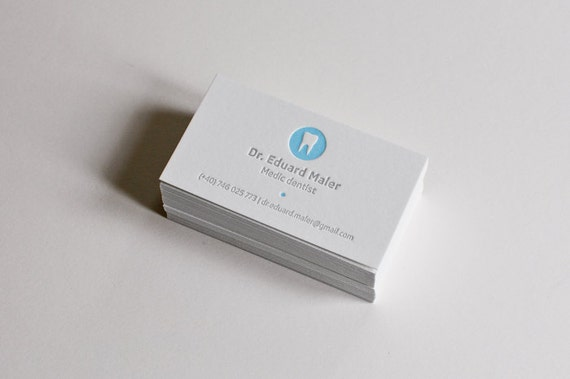 150 dental letterpress business cards etsy colourmoves