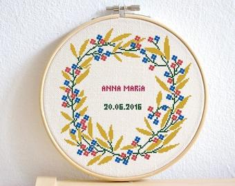 DIY Nursery decor Cross stitch pattern, floral wreath, 2 alphabets bonus, save the date, embroidery pattern, Pdf PATTERN ONLY (W004bonus)