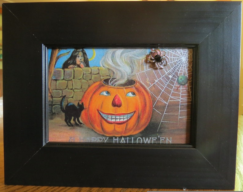 Halloween Wall Art Framed Reproduction Vintage Halloween Etsy