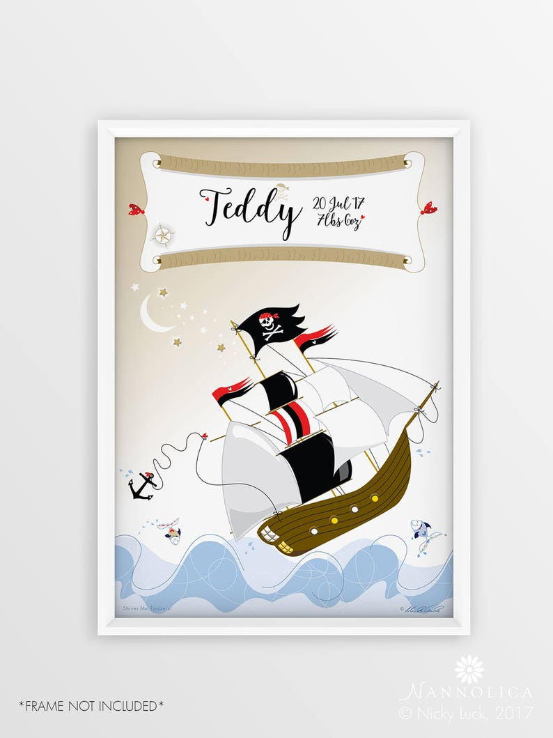 Ship Print Pirate Ship print personalised  Personalised ship image 0