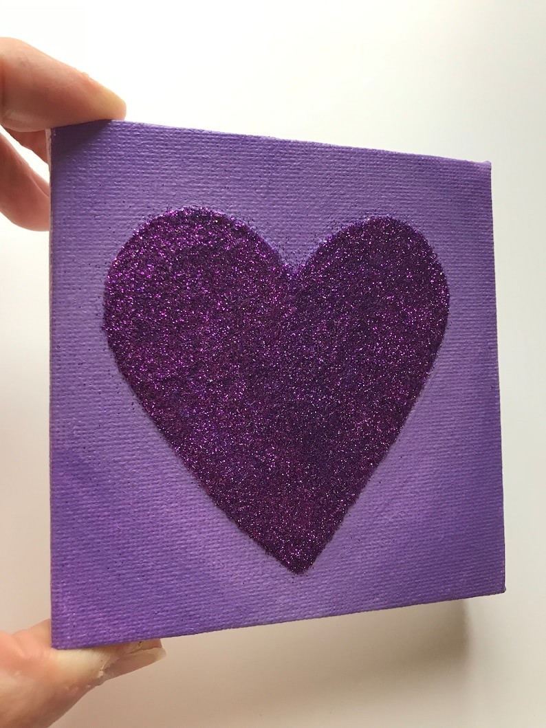 Heart Painting Purple Heart painting Heart Canvas painting image 0