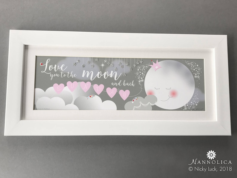 Love you to the moon and back FRAMED print Moon and Stars image 0