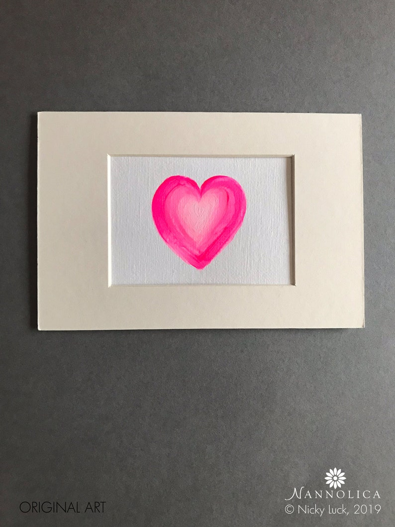 Pink Heart painting Pink Ombre Heart Nursery Art for Girl image 0