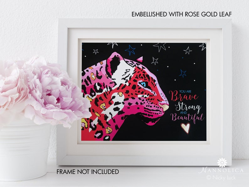 Leopard Art Print Pink Leopard Art Print Motivational image 0