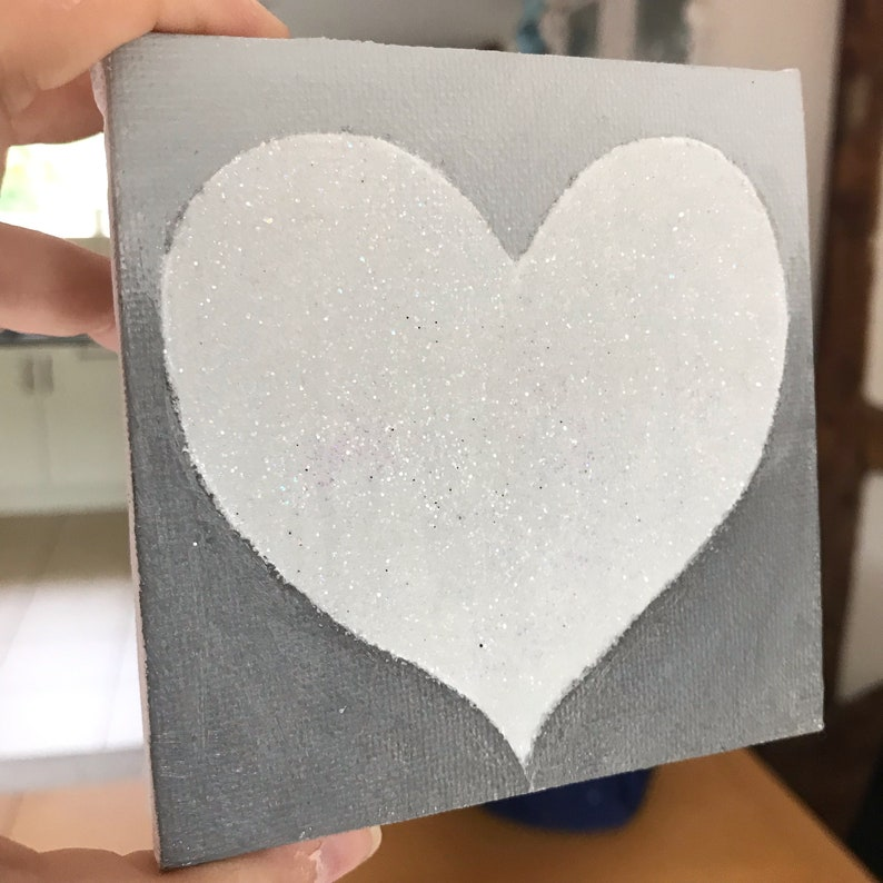 Heart Painting Grey and White Heart painting Heart Canvas image 0