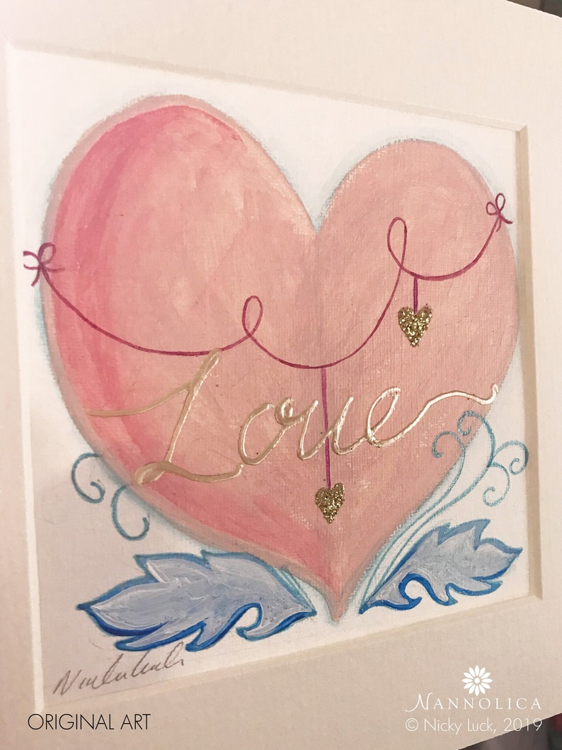 Heart Painting Girlfriend gift Original Art Pink and gold image 0