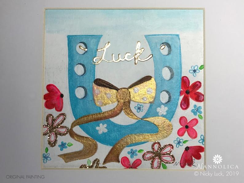 Luck art Horseshoe painting Luck painting Horseshoe art image 0
