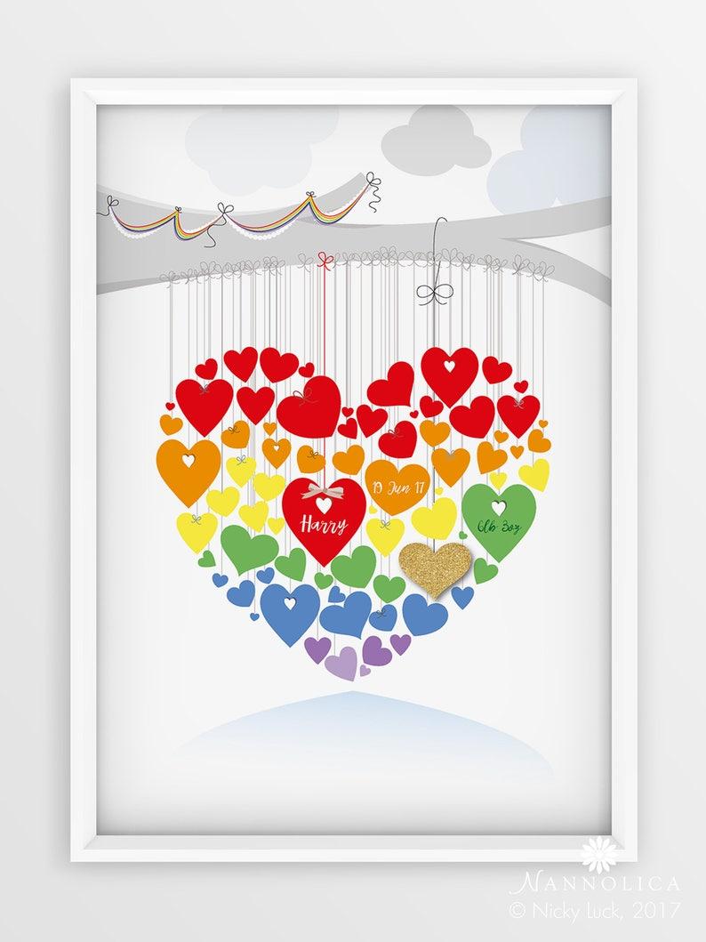 Valentine Gift Rainbow Heart Personalised Print Rainbow image 0