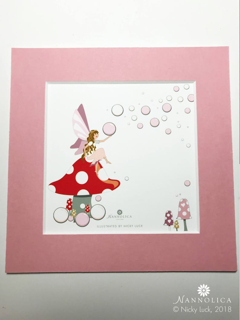 Pink Fairy print Toadstool fairy print Bubbles Fairy print image 0