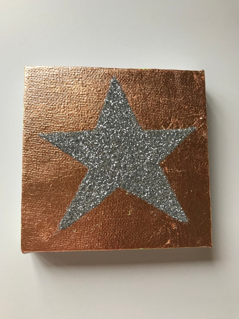 Star Art Rose Gold and silver art Star glitter canvas Star image 0