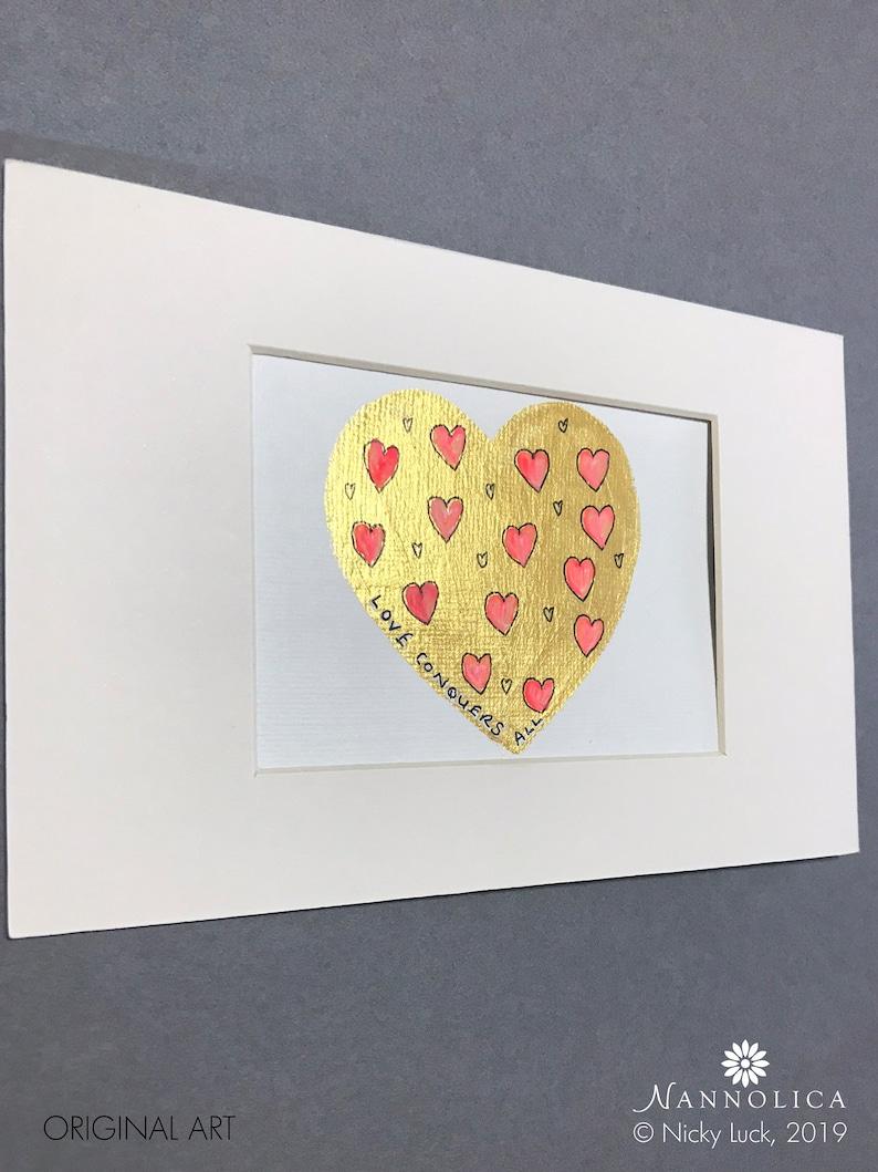 Gold heart painting Heart Art Heart Wall Art Original heart image 0