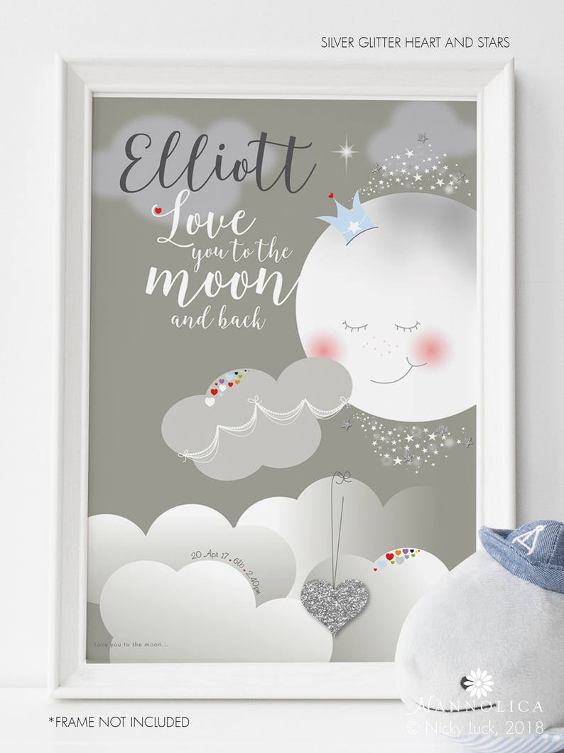 Love you to the Moon and Back Nursery Art Moon and Stars image 0