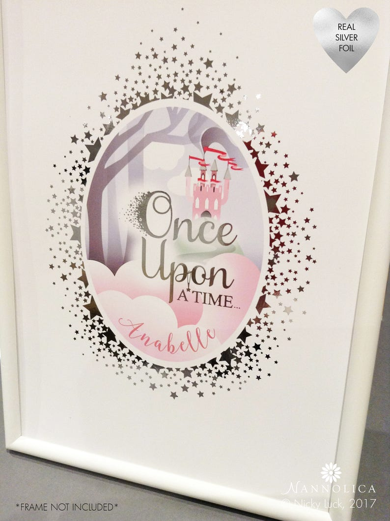 Pink Fairy Castle print Once Upon A Time Print Princess image 0