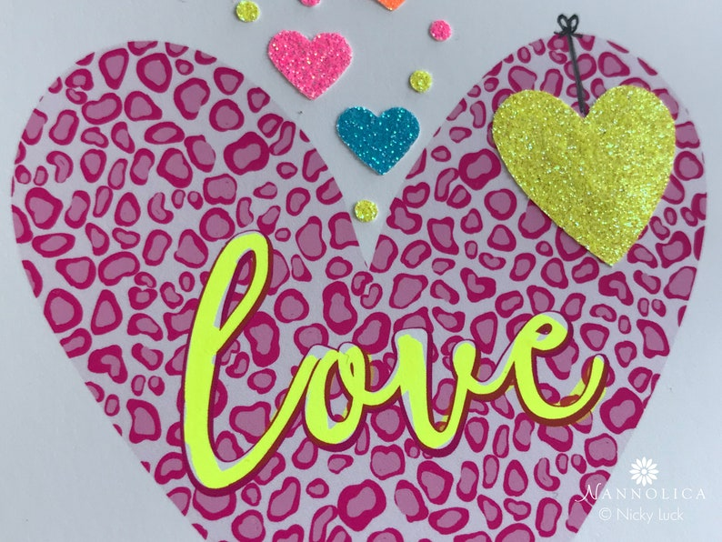 Leopard Print Personalised Heart Neon Type Heart Neon image 0