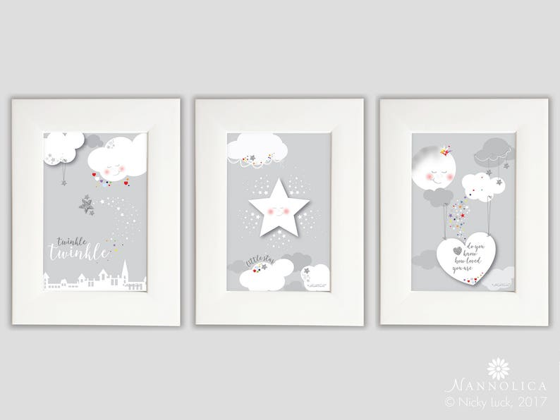 Twinkle Twinkle Little Star Prints x3 FRAMED Star Nursery image 0