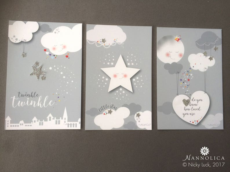 Twinkle Twinkle Little Star Prints x3 UNFRAMED Star Nursery image 0