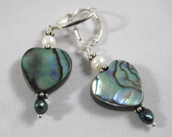 Earrings Heart shaped Paua Shell Abalone Beads dangle with Freshwater Pearls Sterling Silver lever back Beach Boho Lightweight