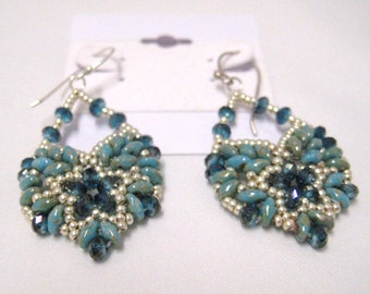 """Beaded Dangle Earrings Blue Crystals Silver Seed Beads  Sterling Silver Hooks 2"""" including hooks"""