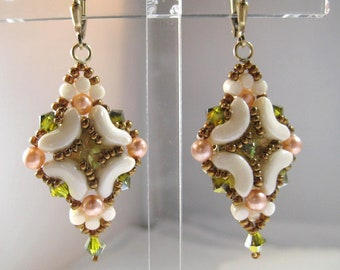 Beaded Earrings Glass Peach Pearls Swarovski Center Crystal embedded using Seed Beads 14kt Gold Fill Lever Back Earwires