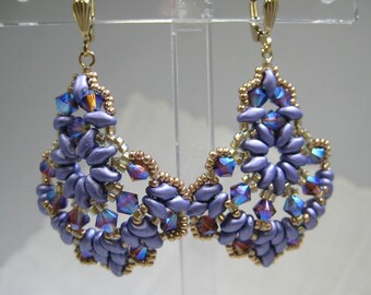 Beaded Dangle Earrings Seed Beads Swarovski Crytals 14 kt Gold Filled Lever back Ear Hooks