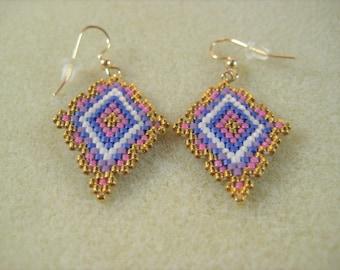 Bead Woven Earrings Dangle Seed Beads 14kt Gold Filled Hooks Lightweight
