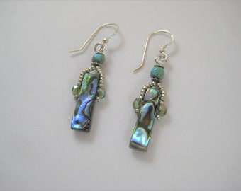 Abalone Paua Shell Earrings Sterling Silver Hooks Seed Beads Beaded Earrings Crystals