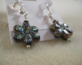 Abalone Paua Shell Drop Earrings on Sterling Silver Ear wire hooks Boho Beach Style