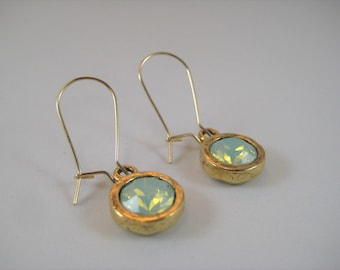 """Swarovski Crystals in Organic shaped Pewter Circles Dangle Earrings 14kt Gold Filled 3/4"""" Kidney Ear Wires"""