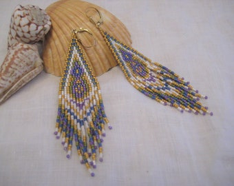 Dangle Earrings with Fringe Boho Hippe style Gold Filled Ear wires Beaded