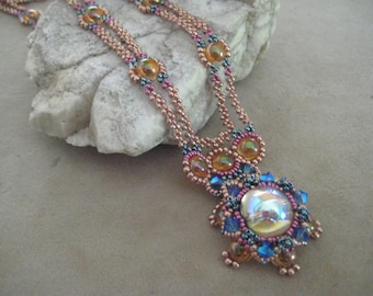 """Hand Beadwoven Adjustable 19"""" Necklace Permanent Finish Seed Beads Czech Glass Swarovski Crystals 14kt Gold Fill Clasp and Extender Chain"""