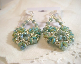 Beaded Dangle earrings Woven Silver Seed Beads  Crystals and Super Duos Sterliing Silver Hooks