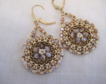 Hand beaded dangle Earrings Neutral tones 14kt Gold Filled Ear wires Seed Beads Czech Crystals