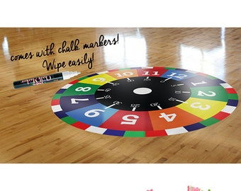 Nursery Decal - Time Learning Printed Decal - Printed Nursery Floor Decal, Floor Sticker with FREE White Erasable MarkerETS50011
