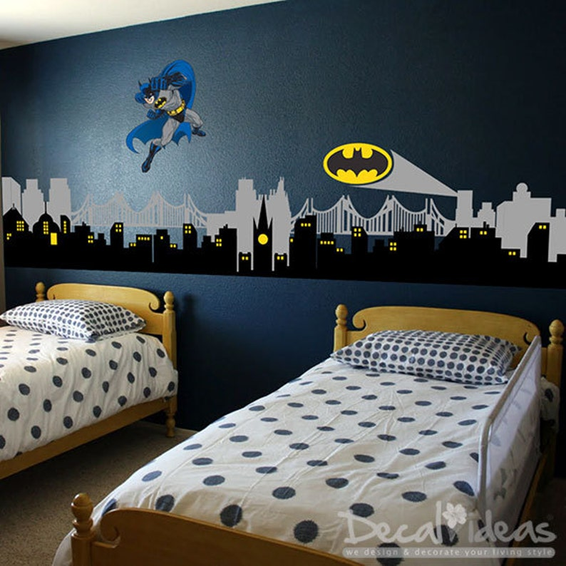Boys room decor, nursery wall decals, boys room wall decal, avengers wall  decals, gotham city skyline, wall decor B ETS50074