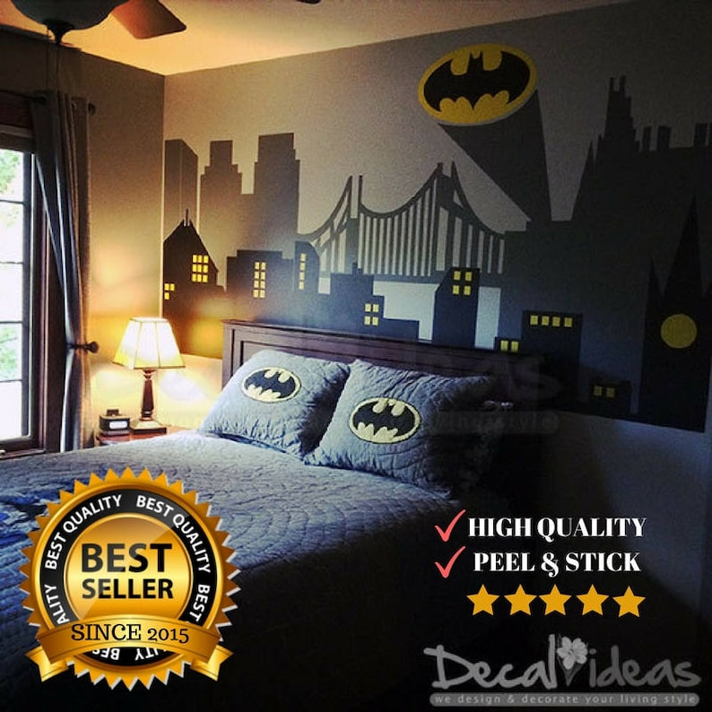 Superhero Wall Decals Batman Gotham City Wall Decal Batman | Etsy
