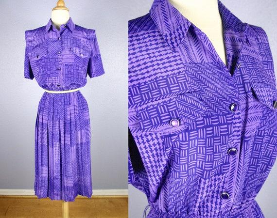 Vintage Plus Size Dress 80s does 40s Dress PURPLE Secretary Dress MOD Dress  Shirt Waist Dress Party Dress Day Dress Pleated Midi Skirt