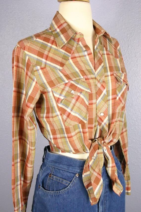 Vintage 70s camicia Western camicia a quadri ROCKABILLY camicetta Country Cowboy RODEO Pearl scatta Boho Retro manica lunga Top HIPSTER arancione blu