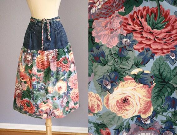 Vintage 80s Denim Skirt FLORAL Skirt High Waist So